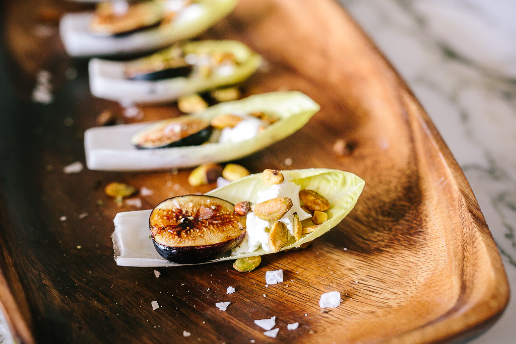 ... Endive Leaves with Roasted Honey-Balsamic Figs, Pistachios & Goat